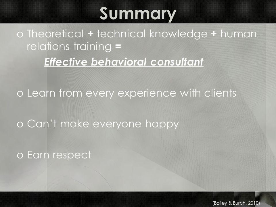 Summary oTheoretical + technical knowledge + human relations training = Effective behavioral consultant oLearn from every experience with clients oCant make everyone happy oEarn respect (Bailey & Burch, 2010)