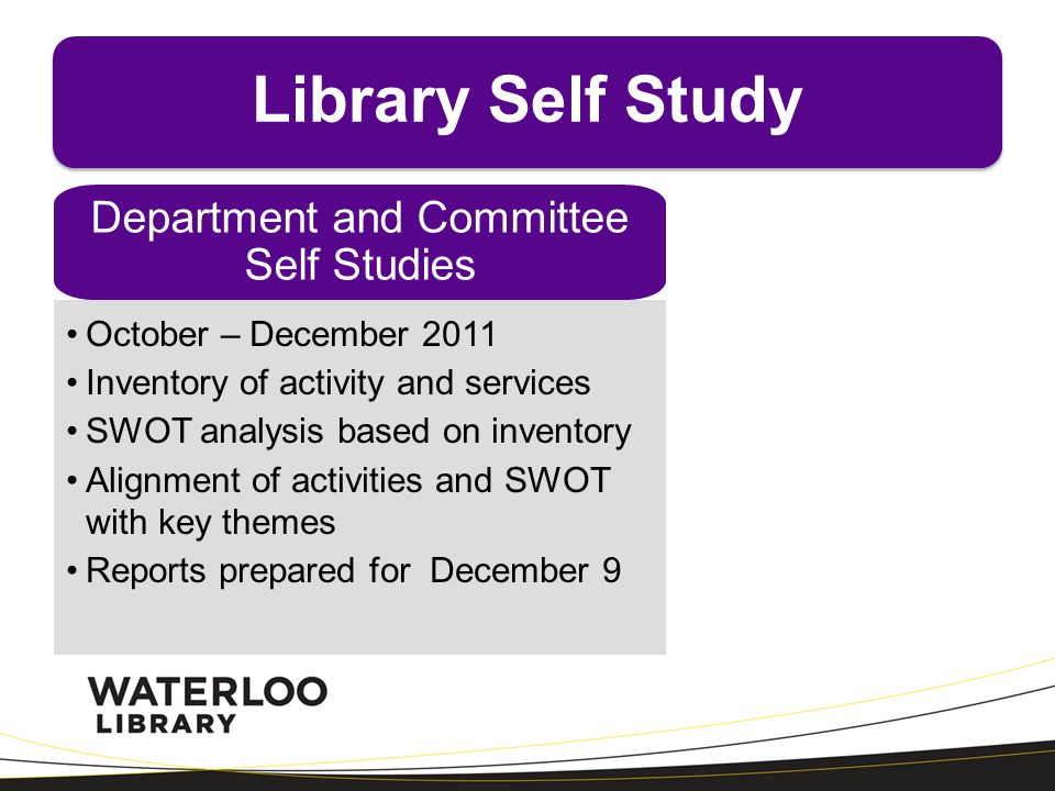 Department and Committee Self Studies October – December 2011 Inventory of activity and services SWOT analysis based on inventory Alignment of activit