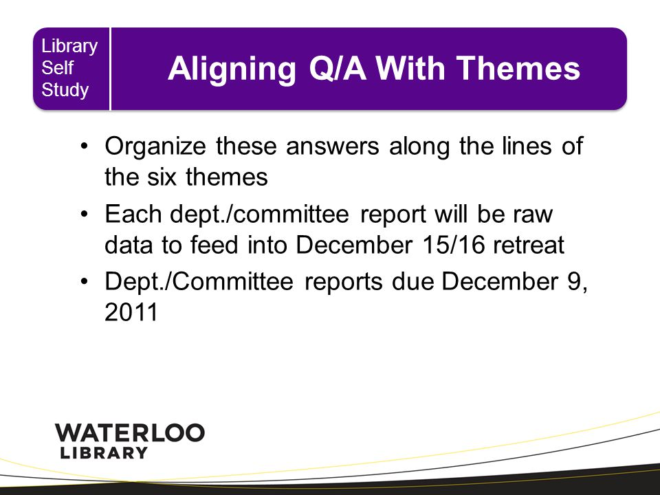 Aligning Q/A With Themes Organize these answers along the lines of the six themes Each dept./committee report will be raw data to feed into December 15/16 retreat Dept./Committee reports due December 9, 2011 Library Self Study