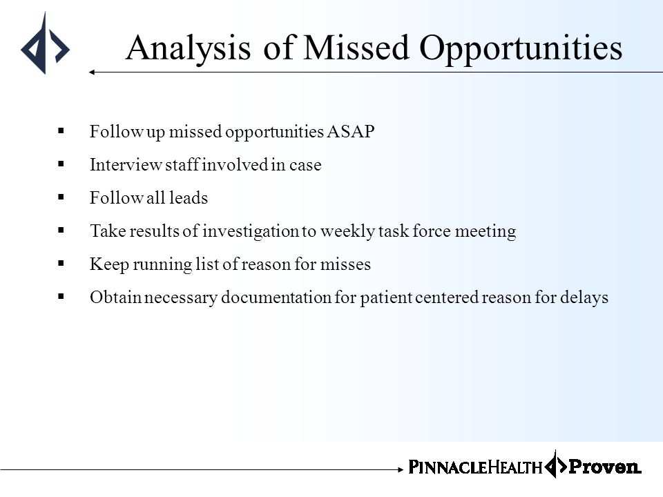 Analysis of Missed Opportunities Follow up missed opportunities ASAP Interview staff involved in case Follow all leads Take results of investigation t