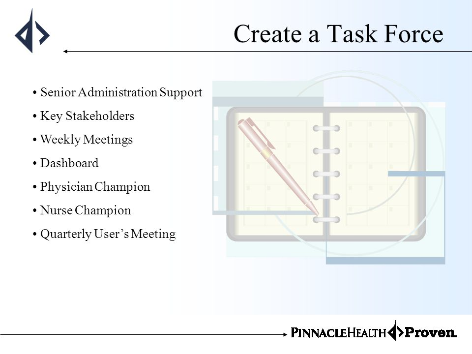 Create a Task Force Senior Administration Support Key Stakeholders Weekly Meetings Dashboard Physician Champion Nurse Champion Quarterly Users Meeting