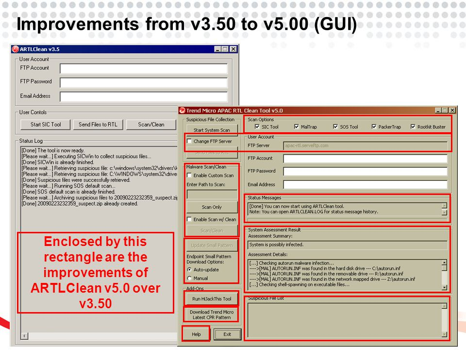 Improvements from v3.50 to v5.00 (GUI) Enclosed by this rectangle are the improvements of ARTLClean v5.0 over v3.50