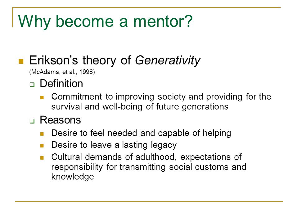 Why become a mentor.