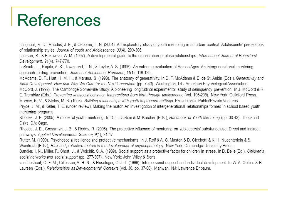 References Langhout, R. D., Rhodes, J. E., & Osborne, L.