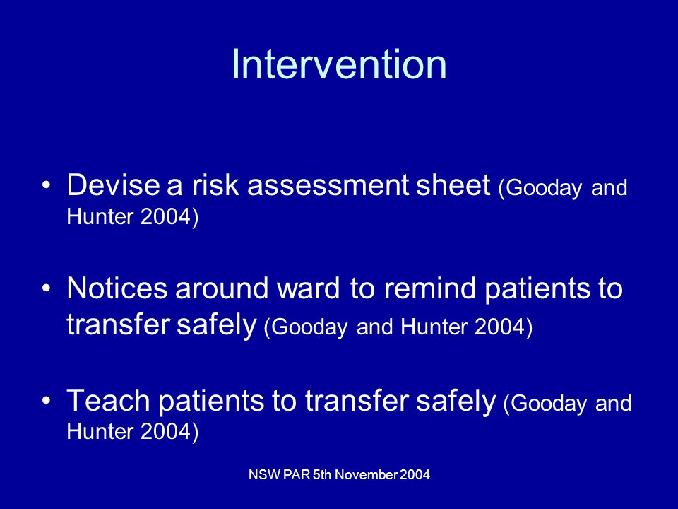 NSW PAR 5th November 2004 Intervention Devise a risk assessment sheet (Gooday and Hunter 2004) Notices around ward to remind patients to transfer safely (Gooday and Hunter 2004) Teach patients to transfer safely (Gooday and Hunter 2004)