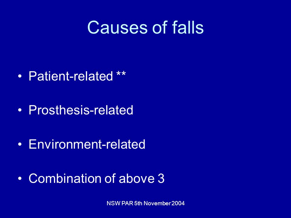 NSW PAR 5th November 2004 Causes of falls Patient-related ** Prosthesis-related Environment-related Combination of above 3