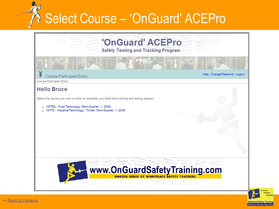 Select Course – OnGuard ACEPro << Back to ContentsBack to Contents