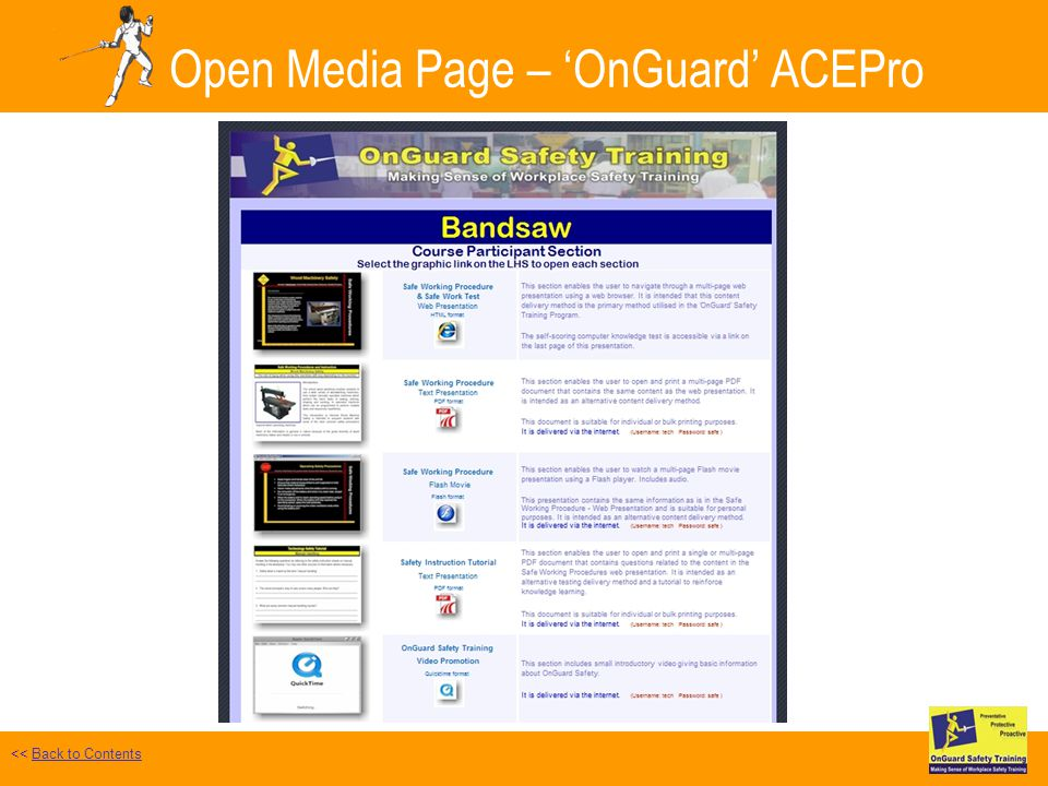 Open Media Page – OnGuard ACEPro Safe Work Test Selected << Back to ContentsBack to Contents