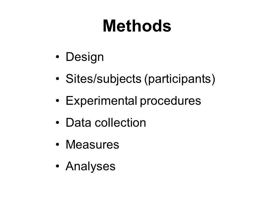 Methods Design Sites/subjects (participants) Experimental procedures Data collection Measures Analyses