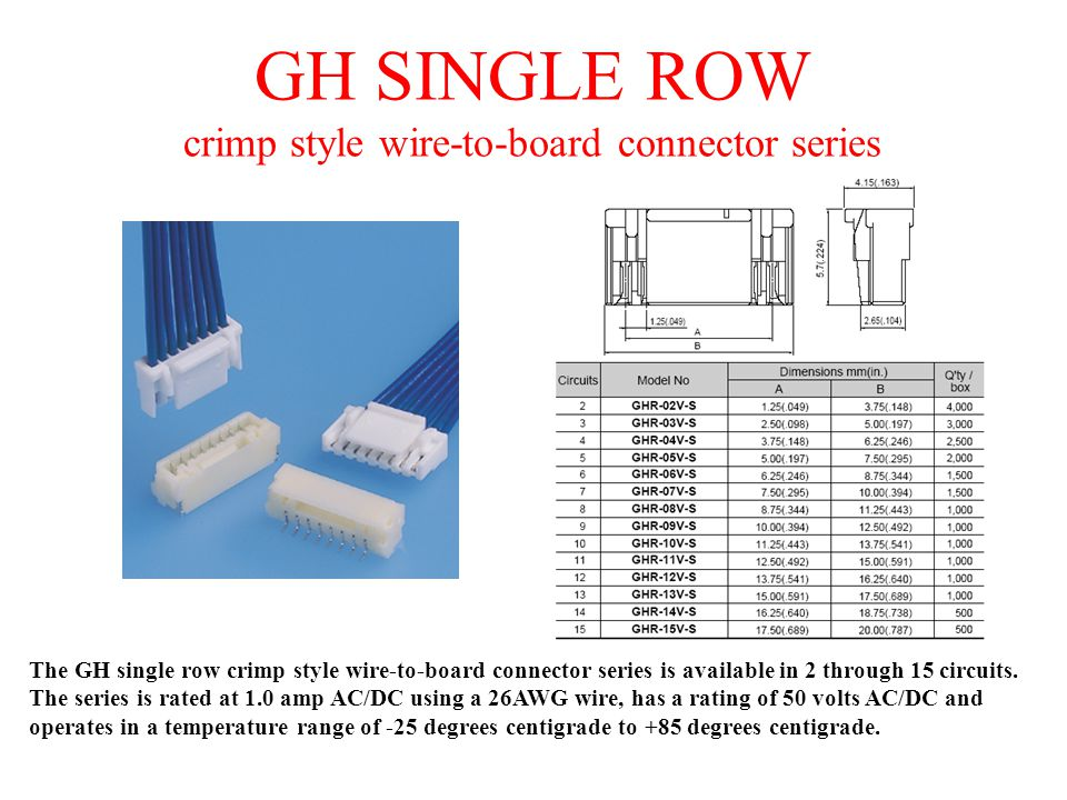 GH SINGLE ROW crimp style wire-to-board connector series The GH single row crimp style wire-to-board connector series is available in 2 through 15 cir