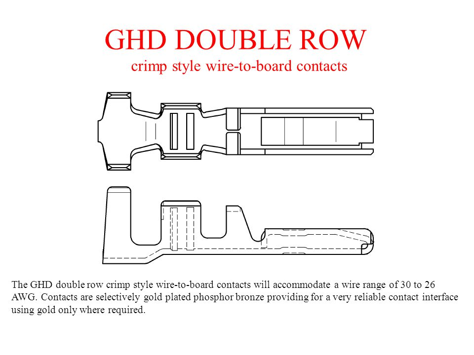 GHD DOUBLE ROW crimp style wire-to-board contacts The GHD double row crimp style wire-to-board contacts will accommodate a wire range of 30 to 26 AWG.