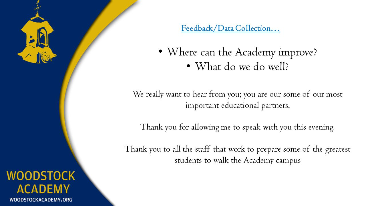 Feedback/Data Collection… Where can the Academy improve.