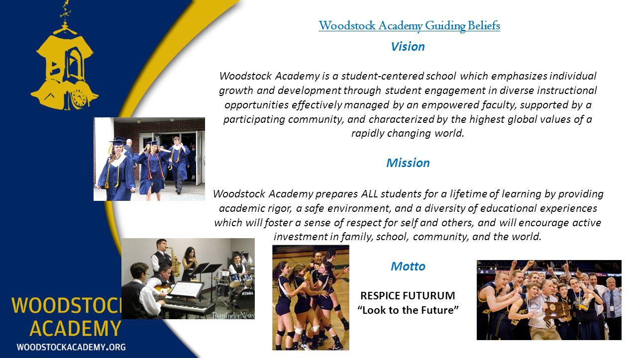 Woodstock Academy Guiding Beliefs Vision Woodstock Academy is a student-centered school which emphasizes individual growth and development through student engagement in diverse instructional opportunities effectively managed by an empowered faculty, supported by a participating community, and characterized by the highest global values of a rapidly changing world.