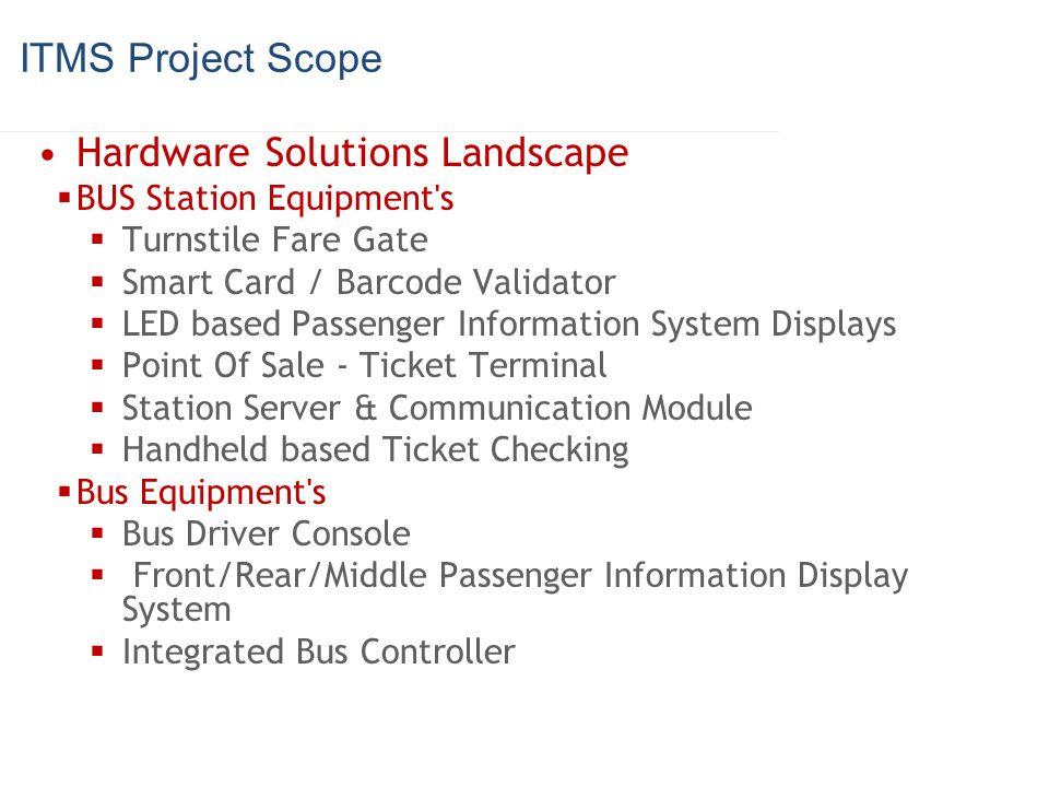 ITMS Project Scope Hardware Solutions Landscape BUS Station Equipment's Turnstile Fare Gate Smart Card / Barcode Validator LED based Passenger Informa