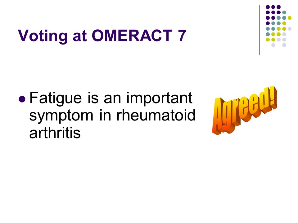 Voting at OMERACT 7 Fatigue is an important symptom in rheumatoid arthritis