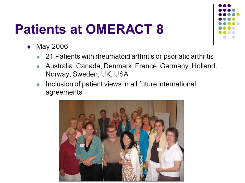 Patients at OMERACT 8 May 2006 21 Patients with rheumatoid arthritis or psoriatic arthritis Australia, Canada, Denmark, France, Germany, Holland, Norway, Sweden, UK, USA Inclusion of patient views in all future international agreements