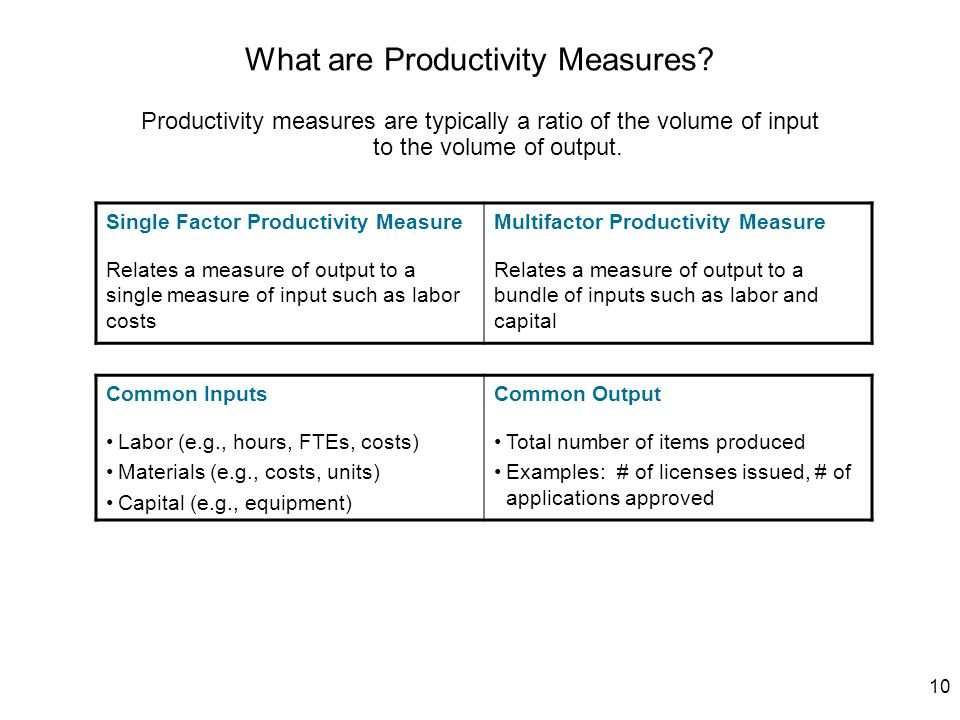10 What are Productivity Measures? Productivity measures are typically a ratio of the volume of input to the volume of output. Single Factor Productiv