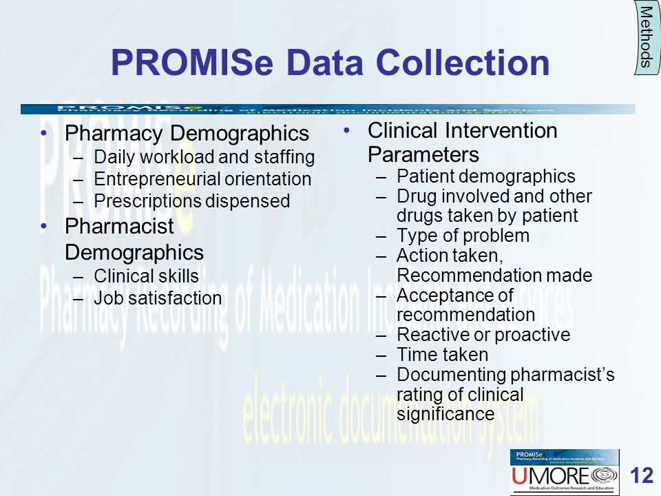 12 PROMISe Data Collection Pharmacy Demographics –Daily workload and staffing –Entrepreneurial orientation –Prescriptions dispensed Pharmacist Demographics –Clinical skills –Job satisfaction Clinical Intervention Parameters –Patient demographics –Drug involved and other drugs taken by patient –Type of problem –Action taken, Recommendation made –Acceptance of recommendation –Reactive or proactive –Time taken –Documenting pharmacists rating of clinical significance Methods