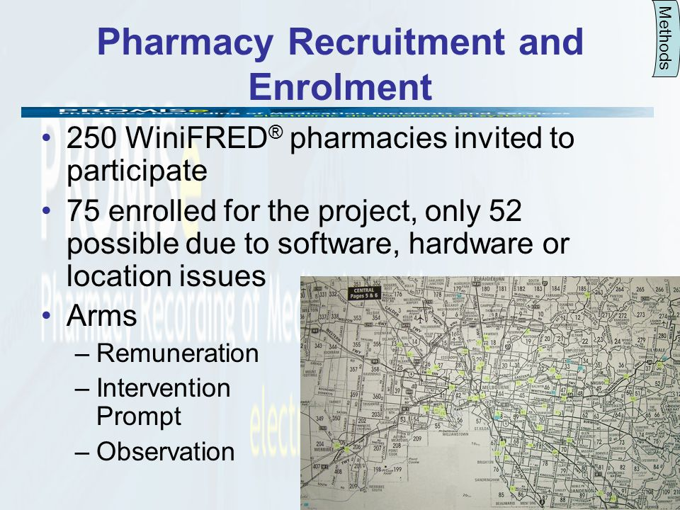 6 Pharmacy Recruitment and Enrolment 250 WiniFRED ® pharmacies invited to participate 75 enrolled for the project, only 52 possible due to software, hardware or location issues Arms –Remuneration –Intervention Prompt –Observation Methods