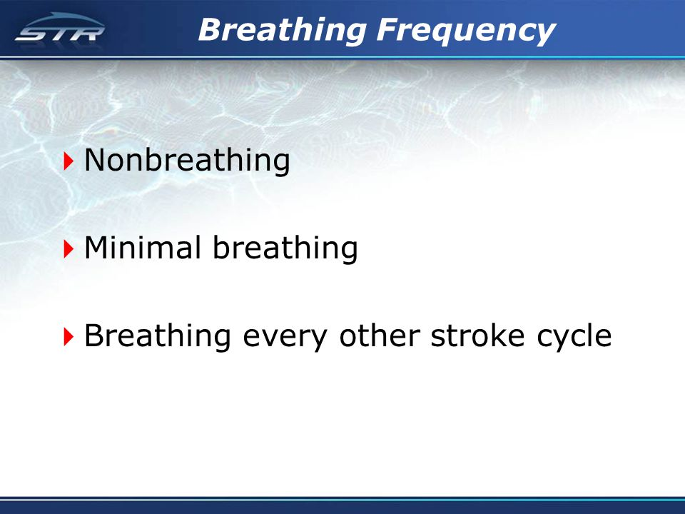 Breathing Frequency Nonbreathing Minimal breathing Breathing every other stroke cycle