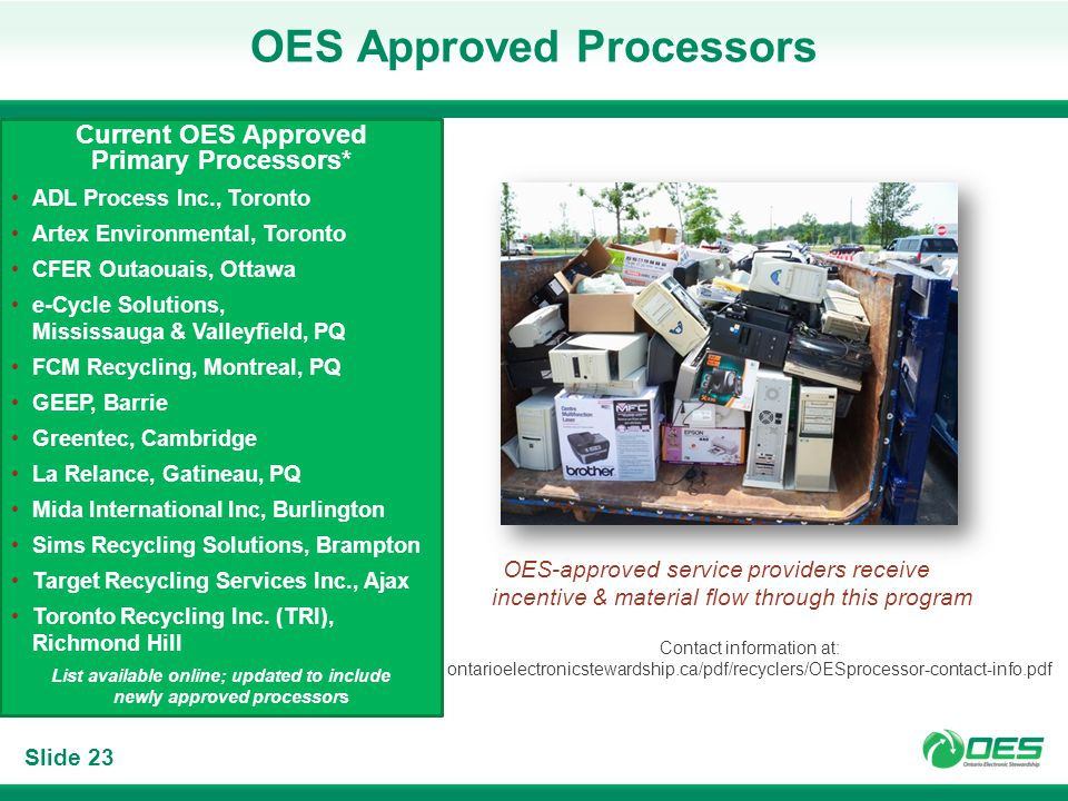 Slide 23 OES Approved Processors Current OES Approved Primary Processors* ADL Process Inc., Toronto Artex Environmental, Toronto CFER Outaouais, Ottawa e-Cycle Solutions, Mississauga & Valleyfield, PQ FCM Recycling, Montreal, PQ GEEP, Barrie Greentec, Cambridge La Relance, Gatineau, PQ Mida International Inc, Burlington Sims Recycling Solutions, Brampton Target Recycling Services Inc., Ajax Toronto Recycling Inc.