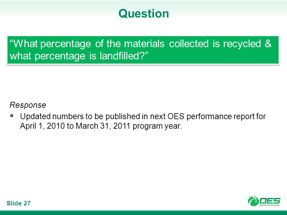 Slide 27 Question Response Updated numbers to be published in next OES performance report for April 1, 2010 to March 31, 2011 program year.