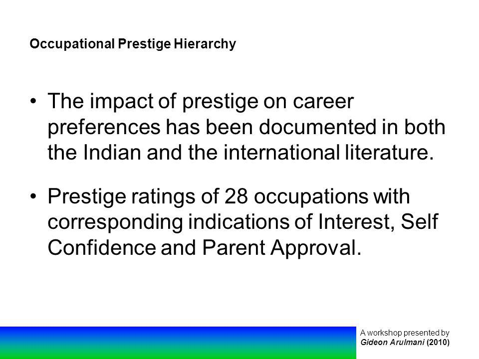 A workshop presented by Gideon Arulmani (2010) Occupational Prestige Hierarchy The impact of prestige on career preferences has been documented in both the Indian and the international literature.