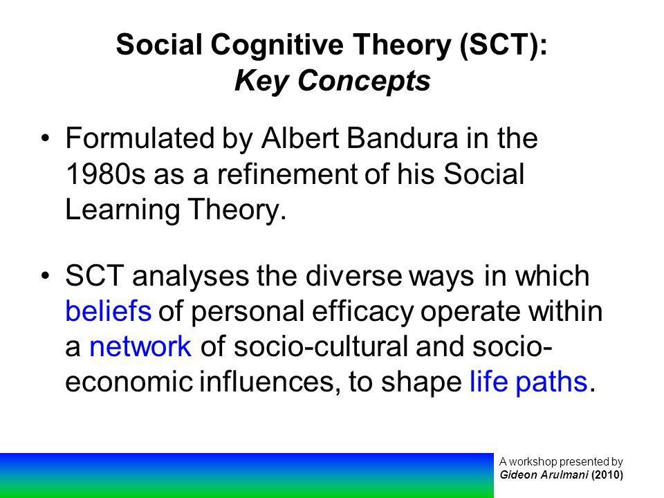 A workshop presented by Gideon Arulmani (2010) Social Cognitive Theory (SCT): Key Concepts Formulated by Albert Bandura in the 1980s as a refinement of his Social Learning Theory.