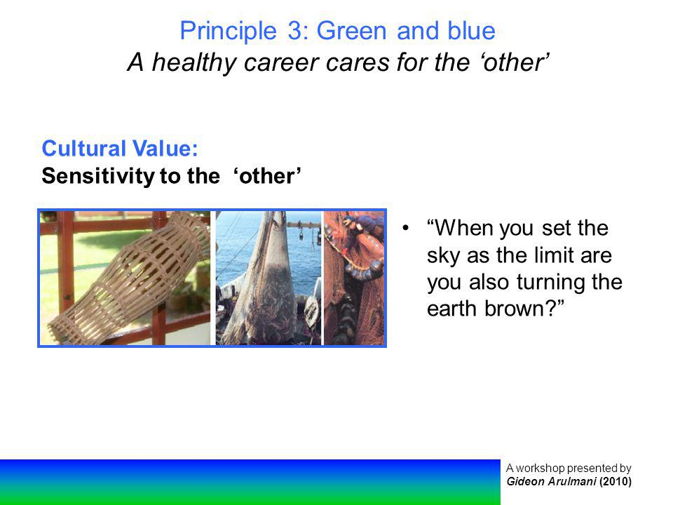 A workshop presented by Gideon Arulmani (2010) Principle 3: Green and blue A healthy career cares for the other When you set the sky as the limit are you also turning the earth brown.