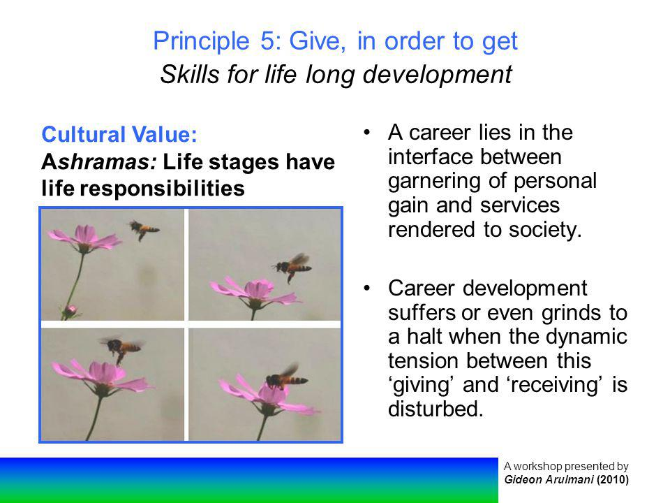 A workshop presented by Gideon Arulmani (2010) Principle 5: Give, in order to get Skills for life long development A career lies in the interface between garnering of personal gain and services rendered to society.