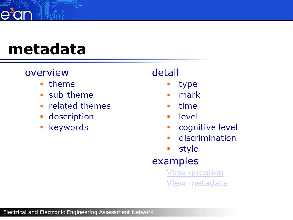 metadata overview theme sub-theme related themes description keywords detail type mark time level cognitive level discrimination style examples View question View metadata