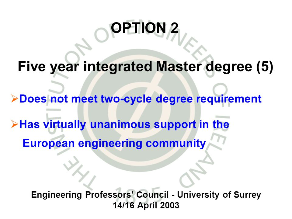 Engineering Professors Council - University of Surrey 14/16 April 2003 Does not meet two-cycle degree requirement Has virtually unanimous support in the European engineering community OPTION 2 Five year integrated Master degree (5)