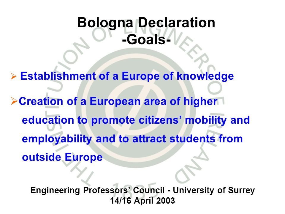 Engineering Professors Council - University of Surrey 14/16 April 2003 Bologna Declaration -Goals- Establishment of a Europe of knowledge Creation of a European area of higher education to promote citizens mobility and employability and to attract students from outside Europe