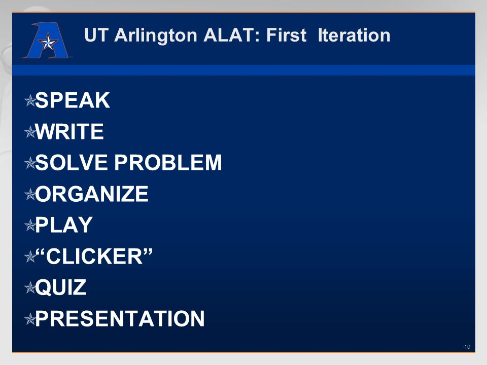 UT Arlington ALAT: First Iteration SPEAK WRITE SOLVE PROBLEM ORGANIZE PLAY CLICKER QUIZ PRESENTATION 10