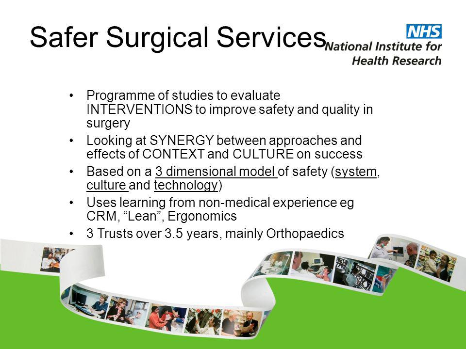 Safer Surgical Services Programme of studies to evaluate INTERVENTIONS to improve safety and quality in surgery Looking at SYNERGY between approaches and effects of CONTEXT and CULTURE on success Based on a 3 dimensional model of safety (system, culture and technology) Uses learning from non-medical experience eg CRM, Lean, Ergonomics 3 Trusts over 3.5 years, mainly Orthopaedics