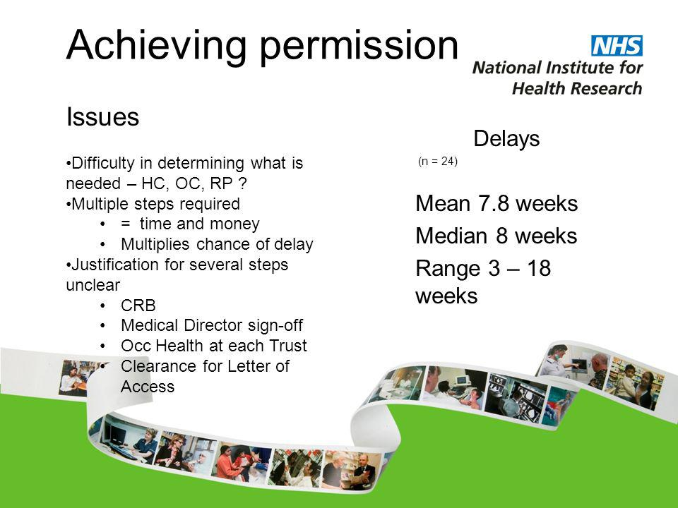 Delays (n = 24) Mean 7.8 weeks Median 8 weeks Range 3 – 18 weeks Achieving permission Issues Difficulty in determining what is needed – HC, OC, RP .