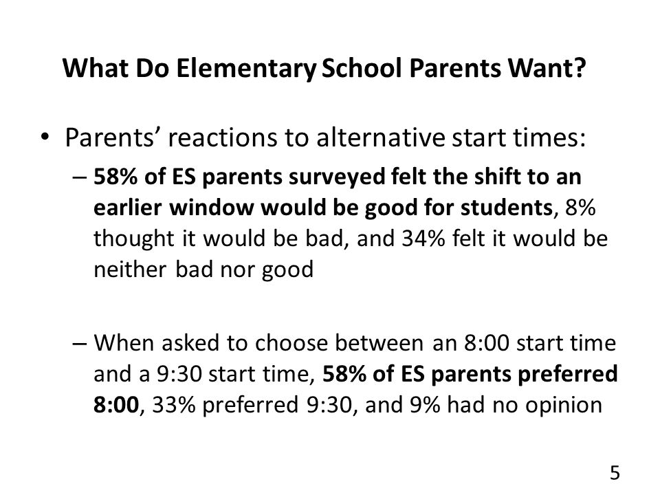 What Do Elementary School Parents Want.