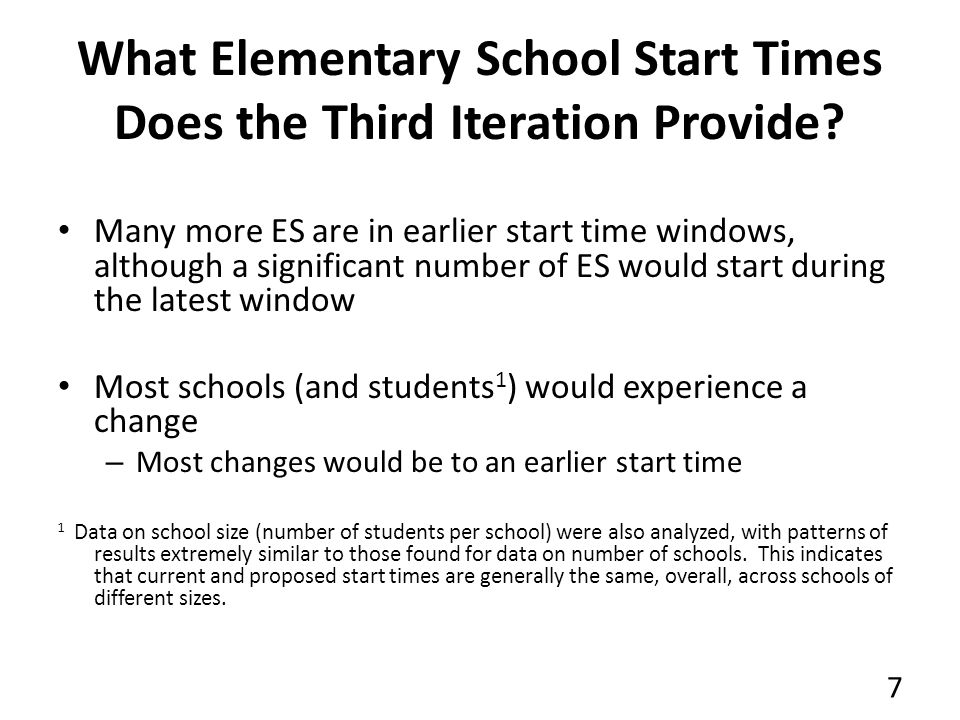 What Elementary School Start Times Does the Third Iteration Provide.