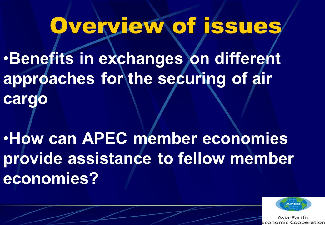 Overview of issues Benefits in exchanges on different approaches for the securing of air cargo How can APEC member economies provide assistance to fellow member economies?