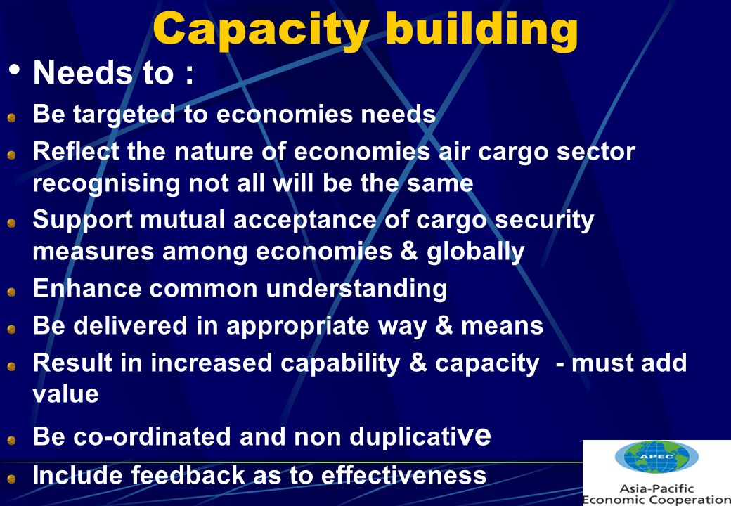 Capacity building Needs to : Be targeted to economies needs Reflect the nature of economies air cargo sector recognising not all will be the same Support mutual acceptance of cargo security measures among economies & globally Enhance common understanding Be delivered in appropriate way & means Result in increased capability & capacity - must add value Be co-ordinated and non duplicati ve Include feedback as to effectiveness