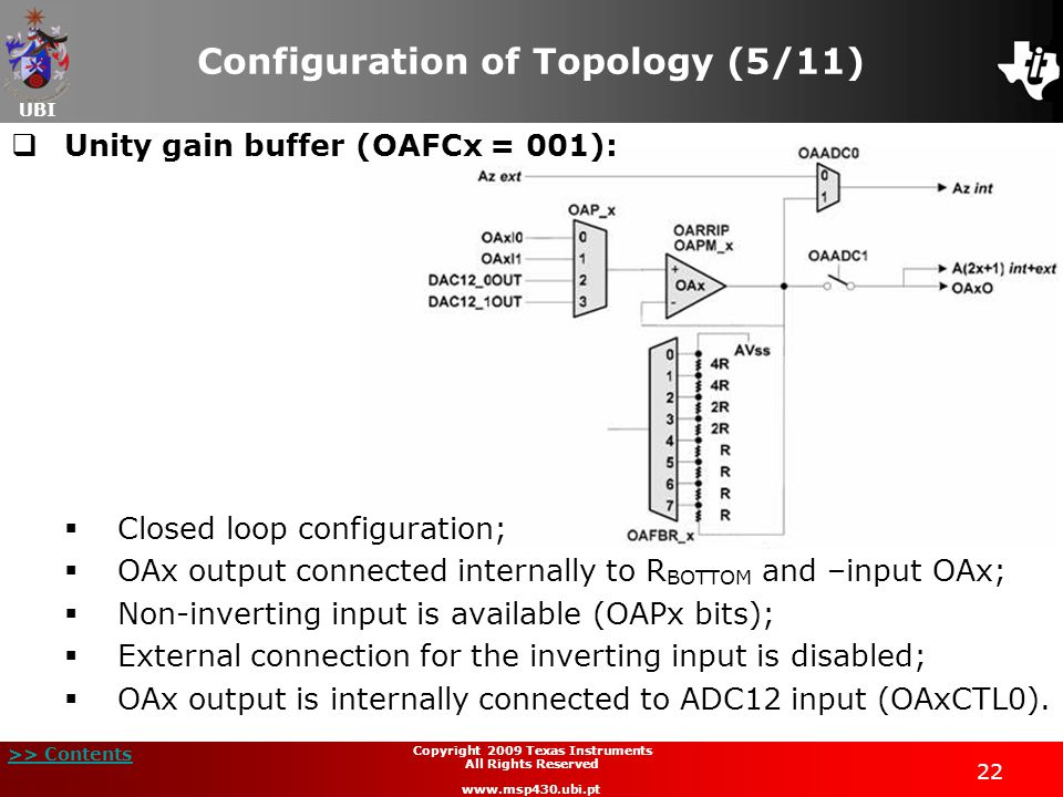 UBI >> Contents 22 Copyright 2009 Texas Instruments All Rights Reserved www.msp430.ubi.pt Configuration of Topology (5/11) Unity gain buffer (OAFCx =