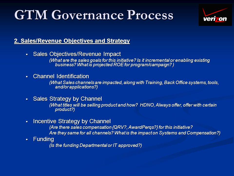 GTM Governance Process 2. Sales/Revenue Objectives and Strategy Sales Objectives/Revenue Impact Sales Objectives/Revenue Impact (What are the sales go