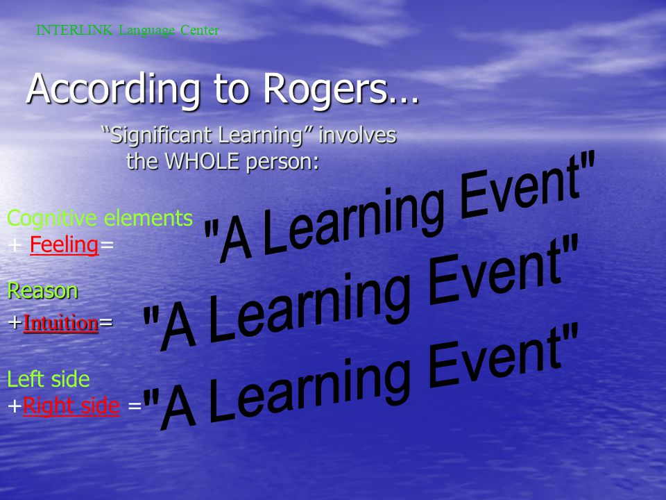 Carl Rogers offers the following learning precepts: 1.Significant learning takes place when the subject matter is relevant to the personal interests of the student 2.Learning which is threatening to the self (e.g., new attitudes or perspectives) is more easily assimilated when external threats are at a minimum 3.Learning proceeds faster when the threat to the self is low 4.Self-initiated learning is the most lasting and pervasive.