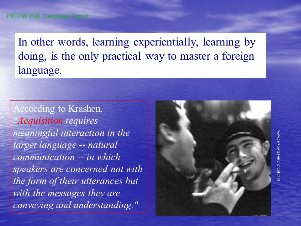 The Acquisition-Learning Distinction acquisitionlearning similar to child first language acquisition formal knowledge of language picking up a languag