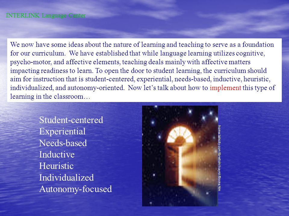 The teacher cannot impart knowledge but can provide a key to how to learn.