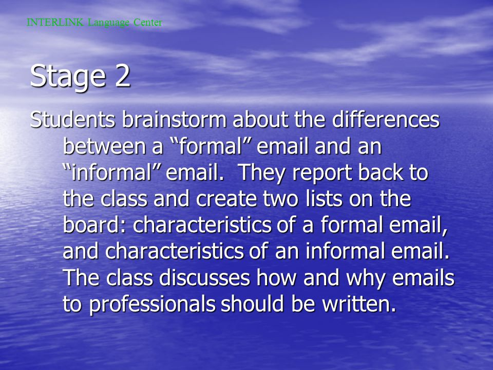 Stage 1 Assuming the students have chosen this project a classroom discussion about interviews begins. Students must interview each other, and report