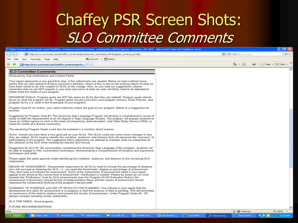 Chaffey PSR Screen Shots: SLO Committee Comments