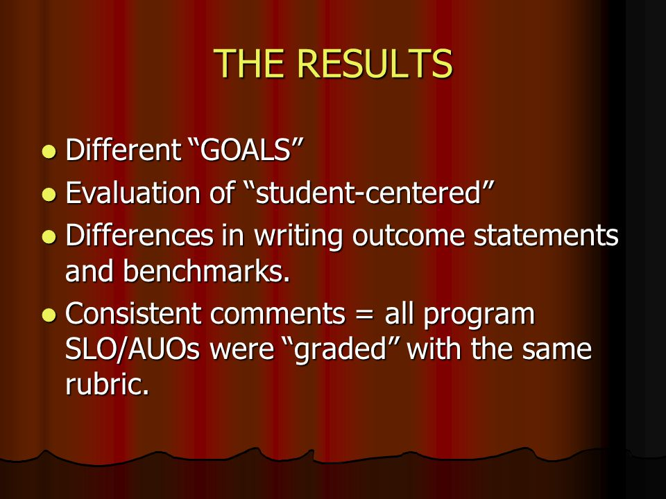 THE RESULTS Different GOALS Different GOALS Evaluation of student-centered Evaluation of student-centered Differences in writing outcome statements an