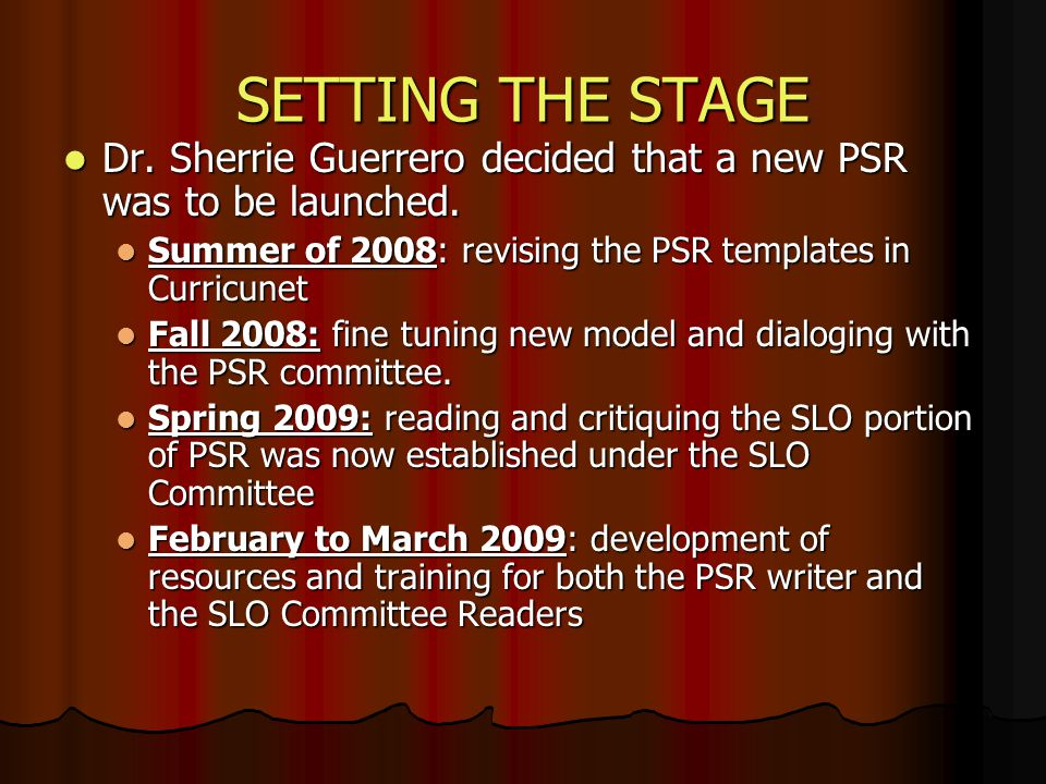 SETTING THE STAGE Dr. Sherrie Guerrero decided that a new PSR was to be launched. Dr. Sherrie Guerrero decided that a new PSR was to be launched. Summ