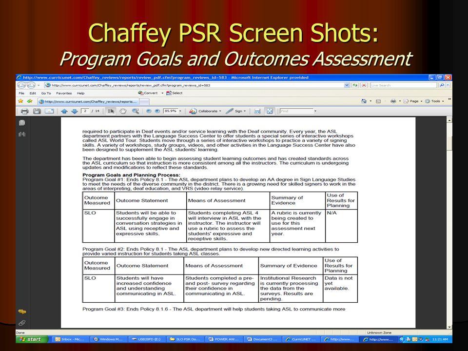 Chaffey PSR Screen Shots: Program Goals and Outcomes Assessment